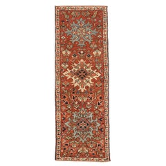 Antique Persian Heriz Runner Rug with Large Colorful Flower Medallions