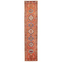 Antique Persian Heriz Runner Rug with Large Multicolored Medallions