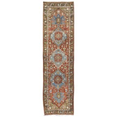 Antique Persian Heriz Runner with Geometric Medallion Design in Red, Olive, Blue