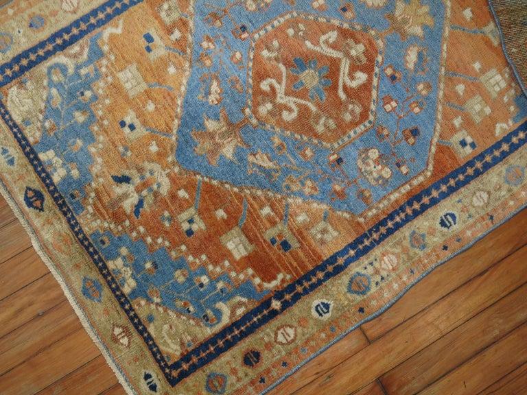 Mid-Century Modern Antique Persian Heriz Scatter Rug For Sale
