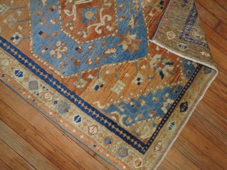 Hand-Knotted Antique Persian Heriz Scatter Rug For Sale