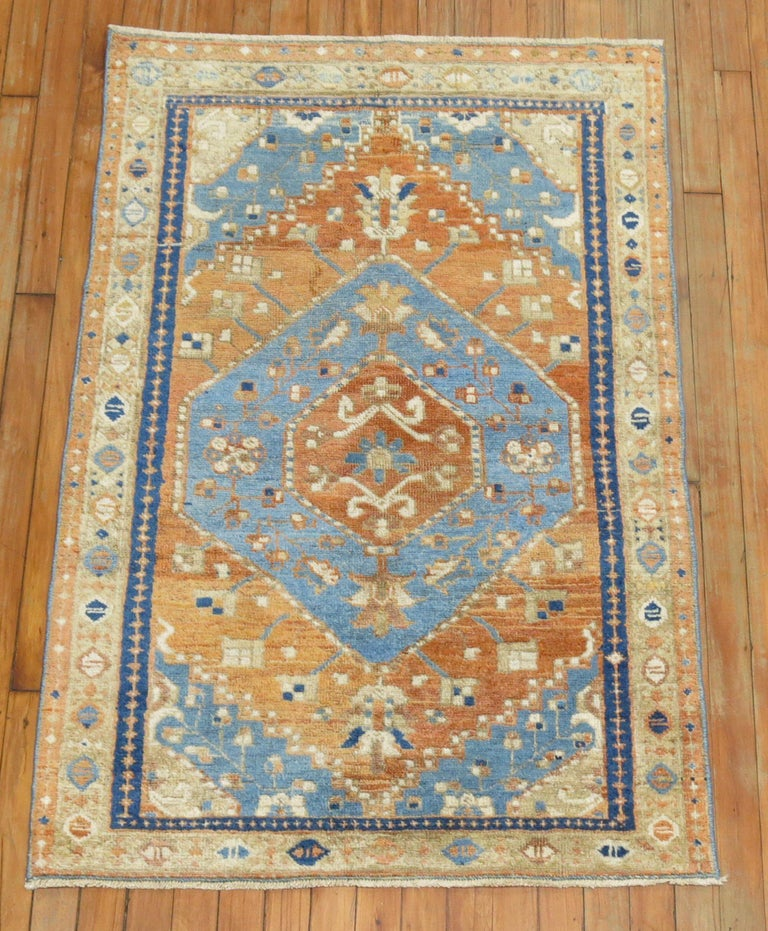 Mid-20th Century Antique Persian Heriz Scatter Rug For Sale
