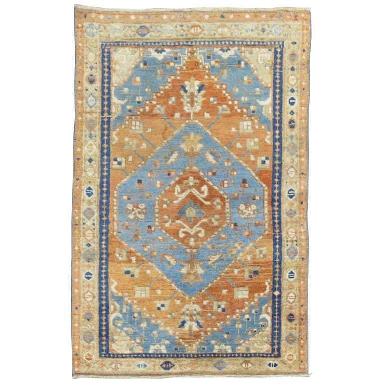 Antique Persian Heriz Scatter Rug For Sale