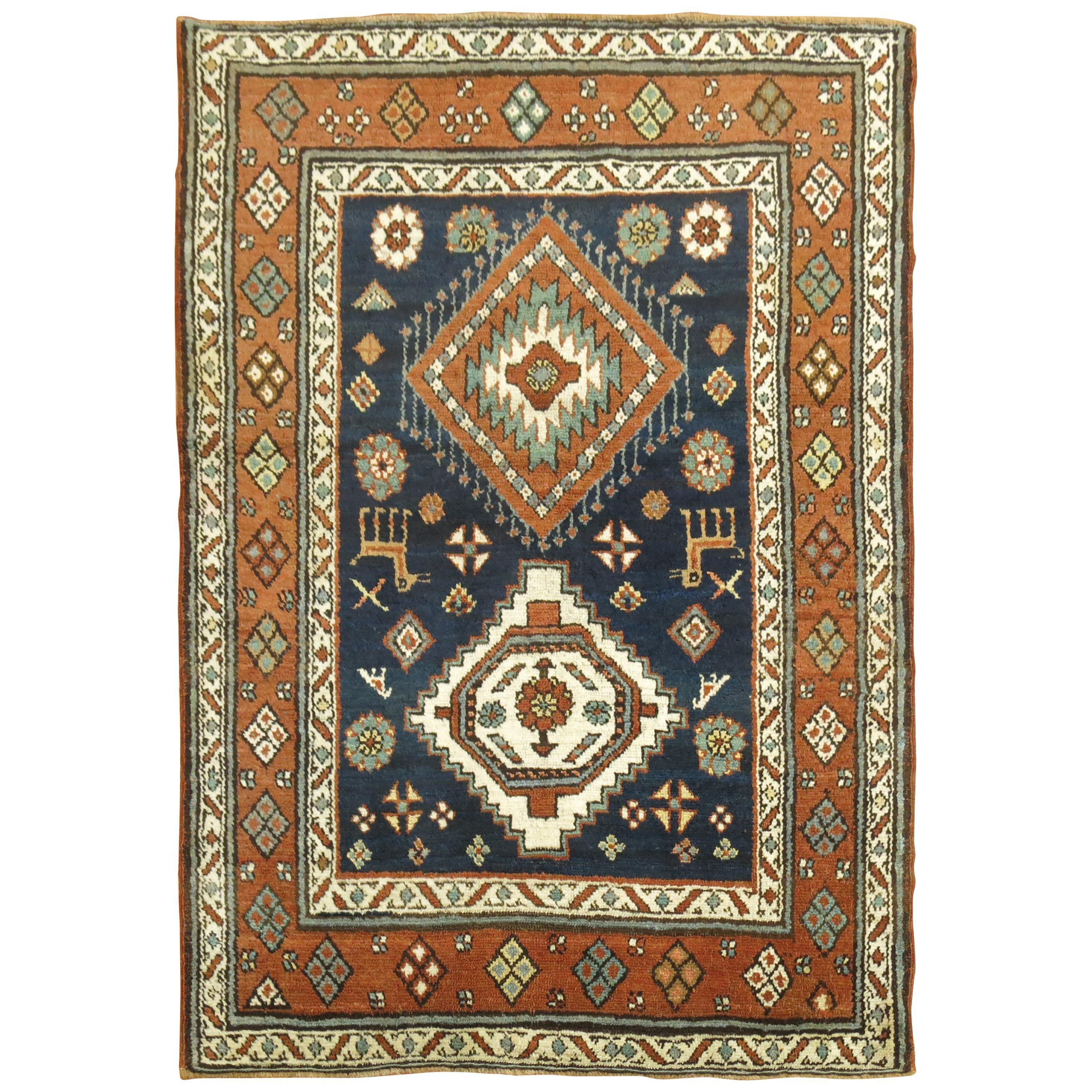 Antique Persian Heriz Scatter Tribal Rug