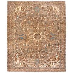 Antique Persian Heriz Serapi Carpet, circa 1910s, Neutral Palette