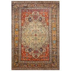 Antique Persian Heriz Silk Rug