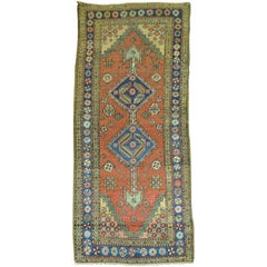 Antique Persian Heriz Small Geometric Runner