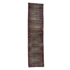Antique Persian Heriz Worn Pile Camel Hair Runner Even Wear Hand Knotted Rug