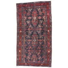 Antique Persian Hussainabad Hamadan Accent Rug with Large-Scale Geometric Design