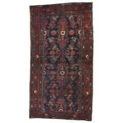 Antique Persian Hussainabad Hamadan Accent Rug with Victorian Style