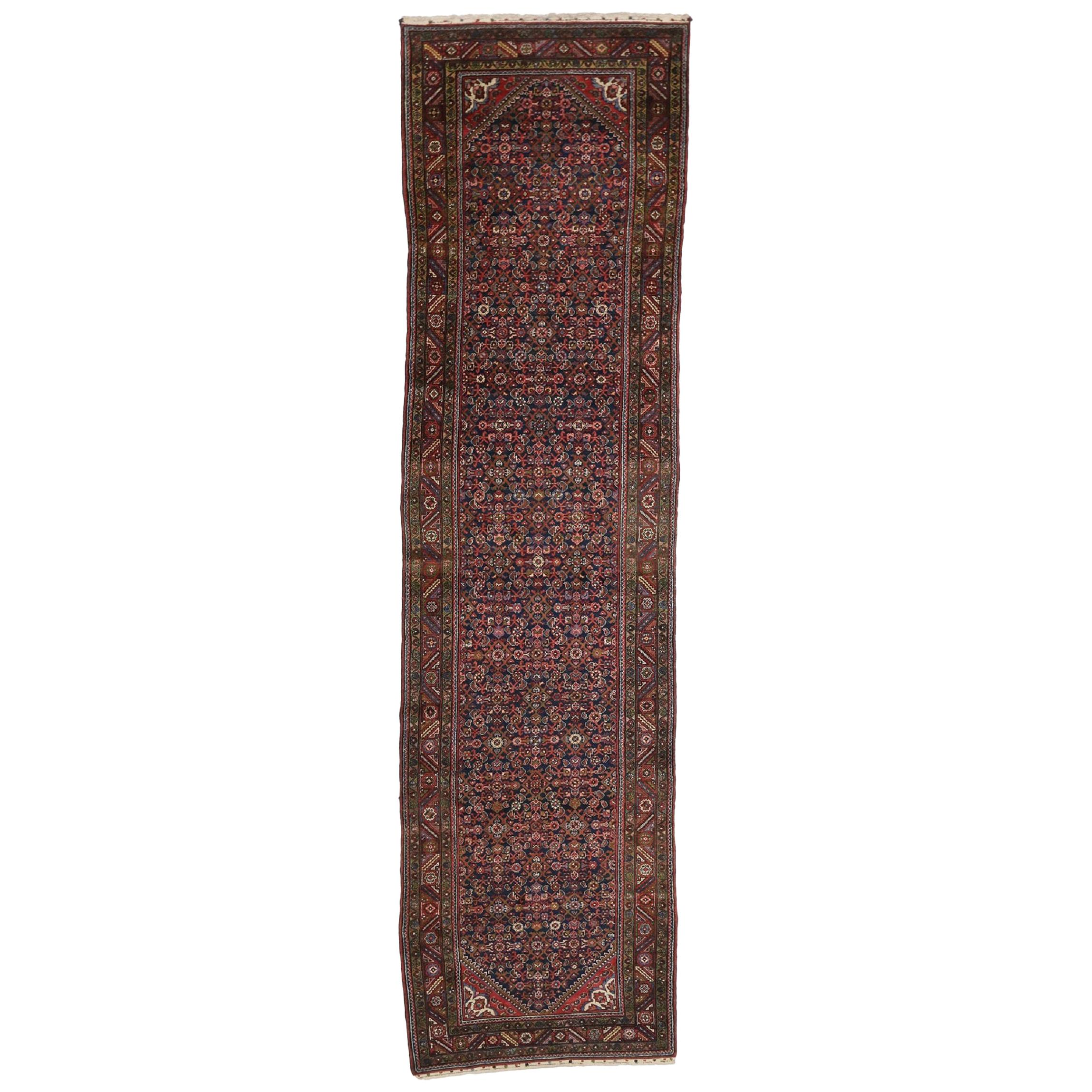 Antique Persian Hussainabad Hamadan Runner, Extra Long Hallway Runner