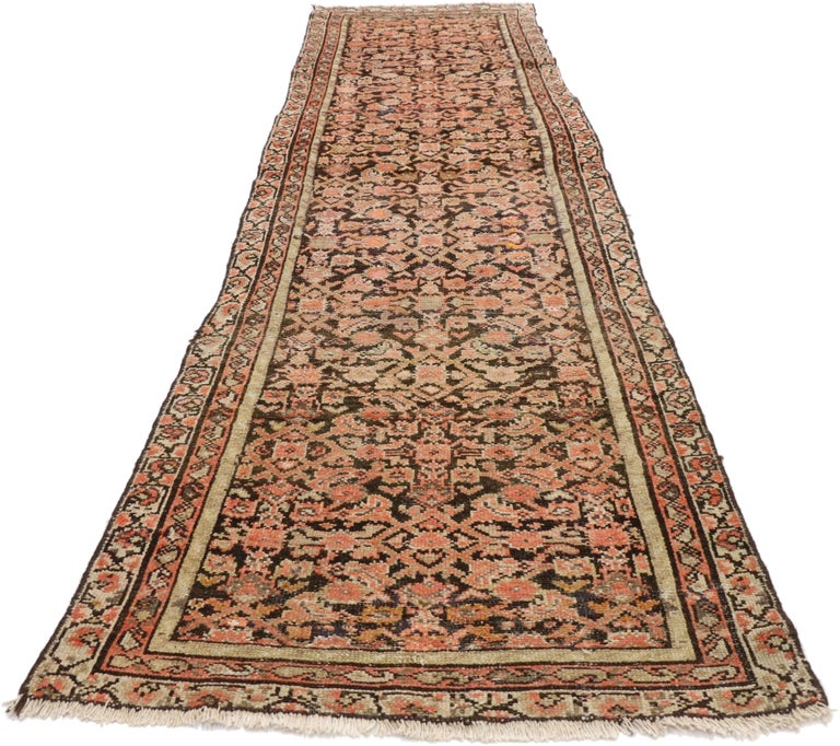 Arts and Crafts Antique Persian Hussainabad Hamadan Runner, Hallway Runner For Sale
