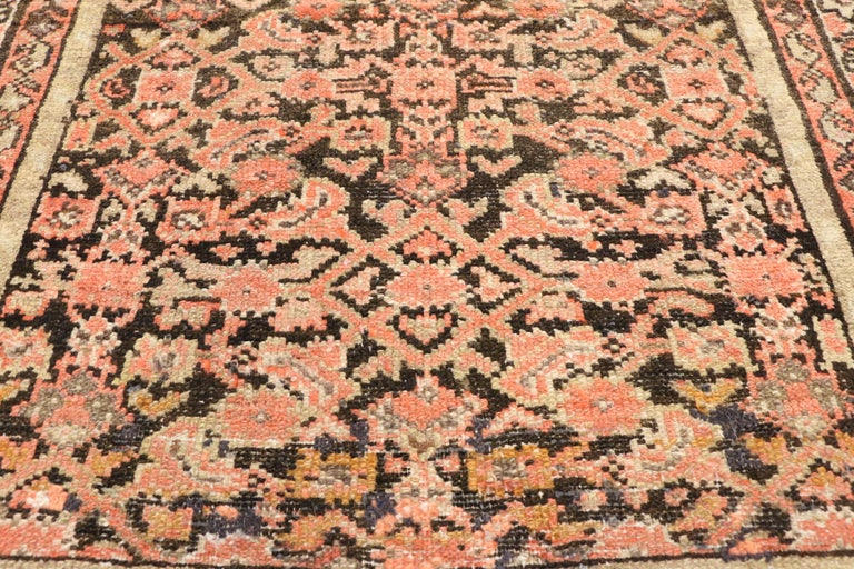 Hand-Knotted Antique Persian Hussainabad Hamadan Runner, Hallway Runner For Sale