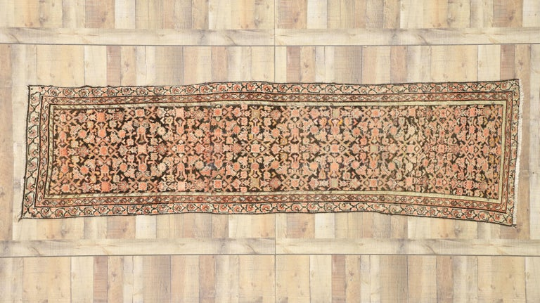 Wool Antique Persian Hussainabad Hamadan Runner, Hallway Runner For Sale