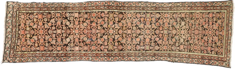 Antique Persian Hussainabad Hamadan Runner, Hallway Runner For Sale 1
