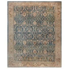 Antique Persian Indigo and Beige Handwoven Wool Sultanabad Rug