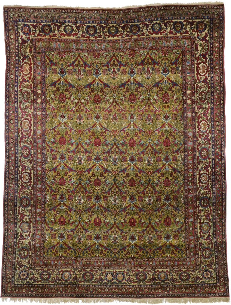 74678 Antique Persian Isfahan Area Rug with Old World and French Baroque Style. Opulence and grace with beguiling ambiance, this hand-knotted wool antique Persian Isfahan (Esfahan) rug beautifully embodies French Baroque style. It features an