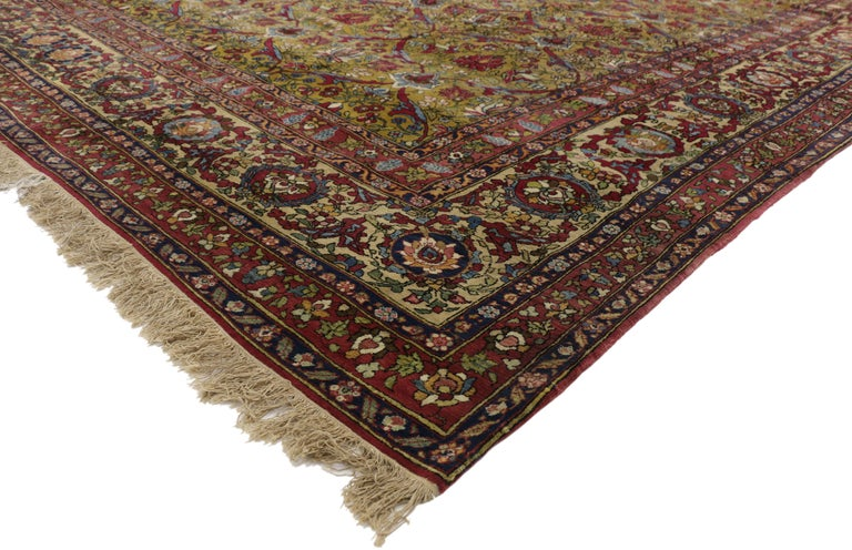 Tabriz Antique Persian Isfahan Area Rug with Old World and French Baroque Style For Sale