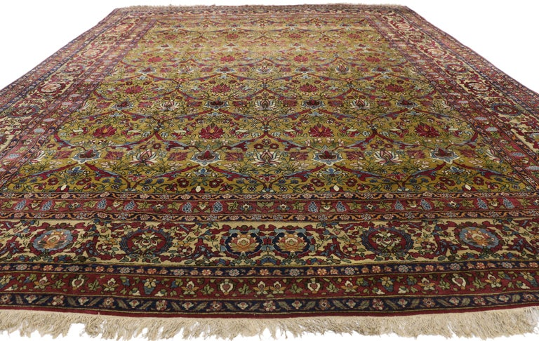 Hand-Knotted Antique Persian Isfahan Area Rug with Old World and French Baroque Style For Sale