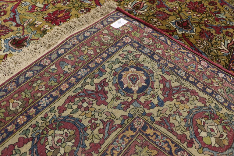 19th Century Antique Persian Isfahan Area Rug with Old World and French Baroque Style For Sale