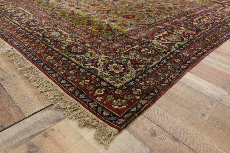 Wool Antique Persian Isfahan Area Rug with Old World and French Baroque Style For Sale