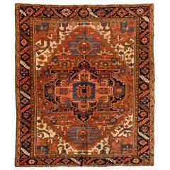 Antique Persian Ivory Navy Blue Tribal Geometric Square Heriz Rug, circa 1920s