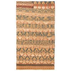 Antique Persian Jajim Beige and Blue Wool Kilim Rug