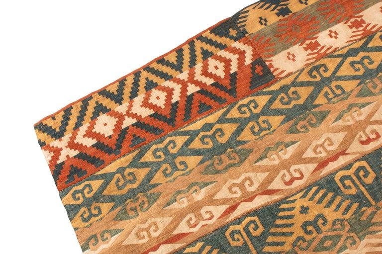 Kilim Antique Persian Jajim Beige and Blue Wool Rug Geometric Pattern For Sale