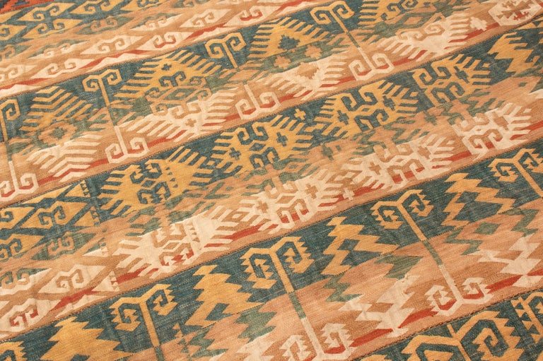 Hand-Knotted Antique Persian Jajim Beige and Blue Wool Rug Geometric Pattern For Sale