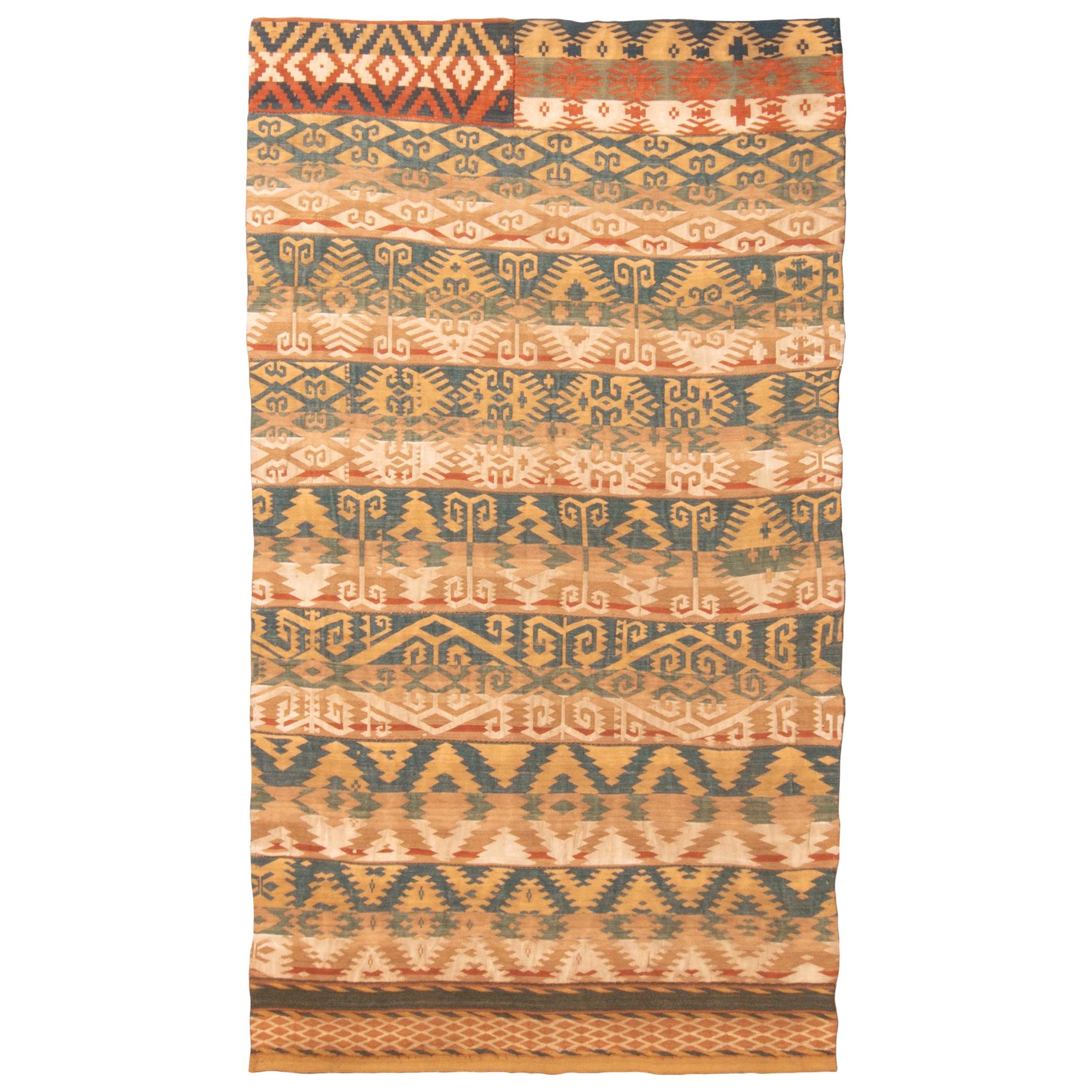 Antique Persian Jajim Beige and Blue Wool Rug Geometric Pattern