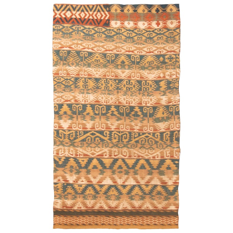 Antique Persian Jajim Beige and Blue Wool Rug Geometric Pattern For Sale