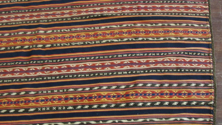 Hand-Woven Antique Persian Jajim Kilim Persian Carpet For Sale