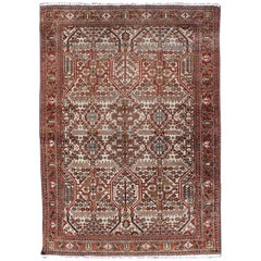Antique Persian Joshegan Rug in Ivory Background with Red, Green and Blue
