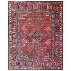 Antique Persian Joshegan Rug with Diamond Design in Beautiful Red, Blue & Cream