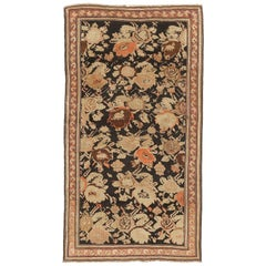 Antique Persian Karabagh Rug with Brown & Beige Floral Motifs