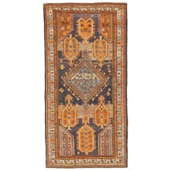 Antique Persian Karabagh Rug with Orange and Navy Tribal Medallions