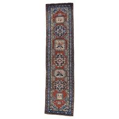 """1910s Red Antique Persian Karabakh Runner Rug - 3'7"""" x 14'2"""""""