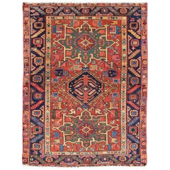Antique Persian Karadjeh Rug with Three Tribal Medallions in Multi-Colors