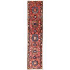 Antique Persian Karadjeh Runner with Layered Geometric Medallions in Red-Orange