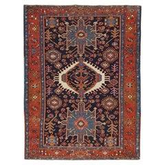 Antique Persian Karaja, Geometric Design, Green on Navy, Wool, Scatter Size
