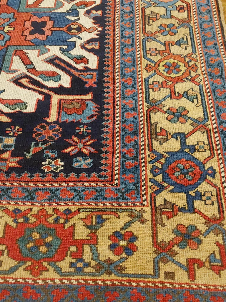 Woven Antique Persian Karaja, Geometric Eagle Kazak Design, Wool, Scatter Size, 1910 For Sale