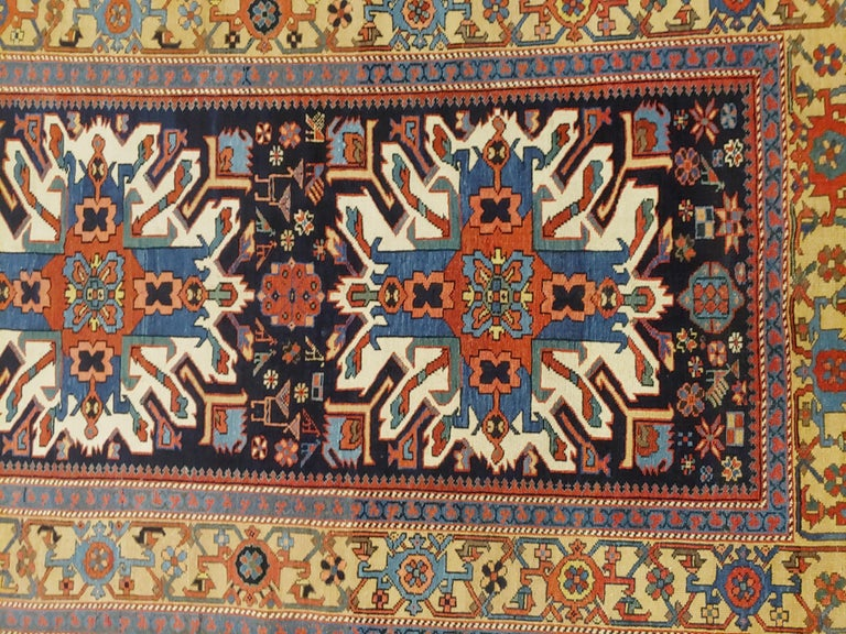 Antique Persian Karaja, Geometric Eagle Kazak Design, Wool, Scatter Size, 1910 In Good Condition For Sale In Williamsburg, VA