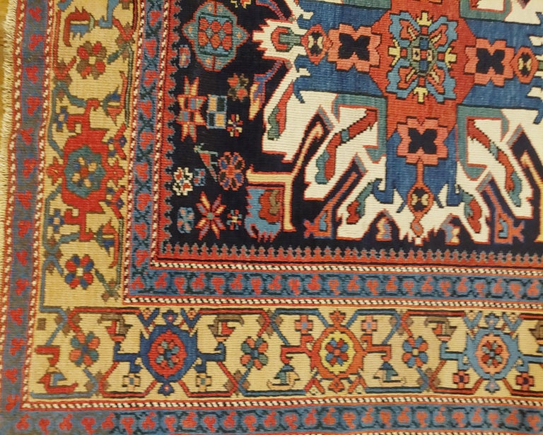 20th Century Antique Persian Karaja, Geometric Eagle Kazak Design, Wool, Scatter Size, 1910 For Sale