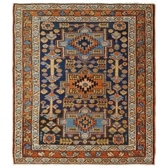 Antique Persian Karaja, Heriz, Geometric Design, Wool, Scatter Size, 1910
