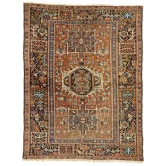Antique Persian Karaja Heriz Rug with Tribal Style, Study or Home Office Rug