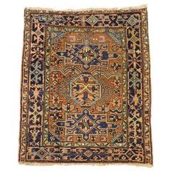 Antique Persian Karaja Heriz Scatter Rug, Tribal Style Persian Rug