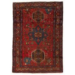 Antique Persian Karaja Red and Navy Blue Tribal Geometric Rug, circa 1940-1950s
