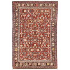 Antique Persian Karajeh Rug with Ivory and Black Floral Medallions on Red Field