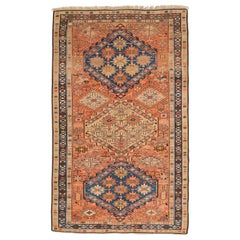 Antique Persian Karajeh Rug with Navy and Beige Floral Medallions