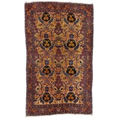 Antique Persian Kashan Accent Rug, Foyer or Entry Rug